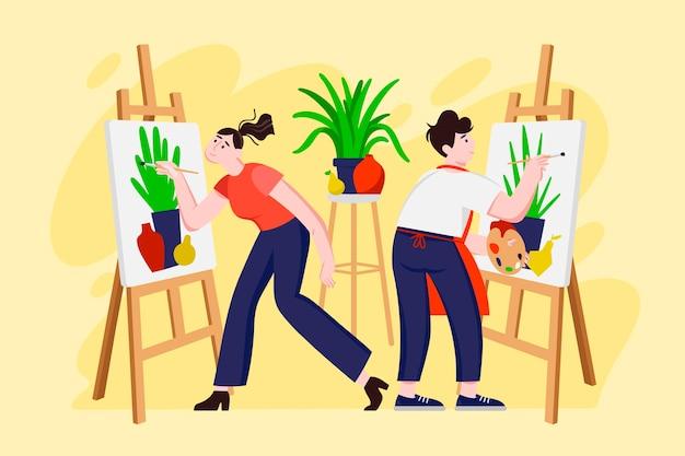 Oficina criativa diy com pessoas pintando