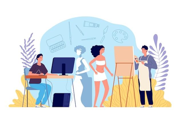 Oficina de arte. artista de homens criativos, estúdio de pintura para adultos. posando de modelo feminino, desenho e design digital. criando o conceito de vetor de escultura. profissional de oficina, hobby do homem trabalhando desenho ilustração