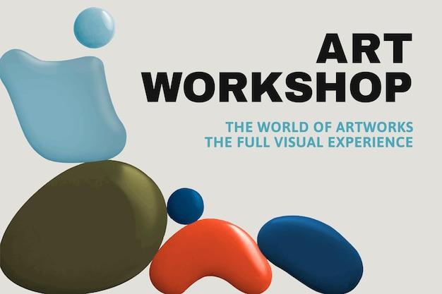 Oficina de arte modelo vetor cor pintura abstrata banner de anúncio