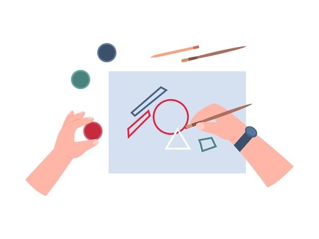 Oficina de artesanato ou aula de pintura para a criação de artesanato criativo feito à mão