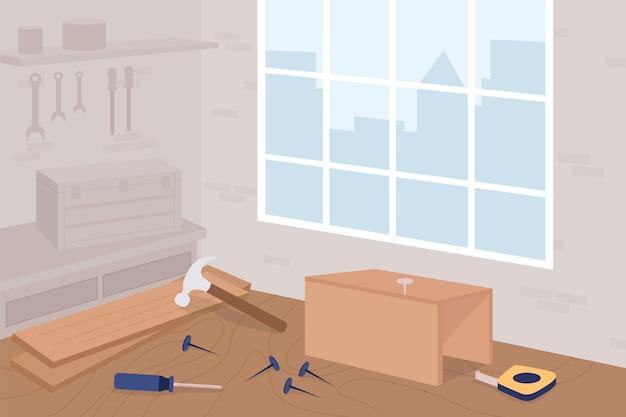 Oficina de carpintaria plana. aula de marcenaria. trabalho manual.