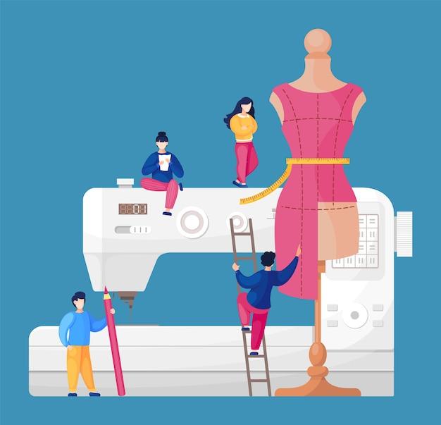 Oficina de costura com designers no fundo da máquina de costura