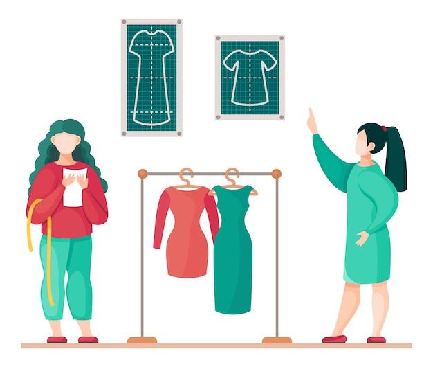 Oficina de costura estilistas fazendo uma modelo