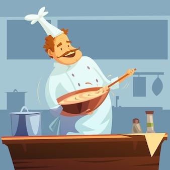 Oficina de culinária com o chef misturando ingredientes em uma tigela