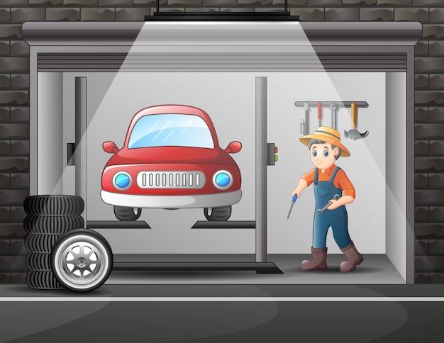 Oficina de desenho animado com equipe mecânica consertando um carro