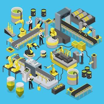 Oficina de esteira de produção química