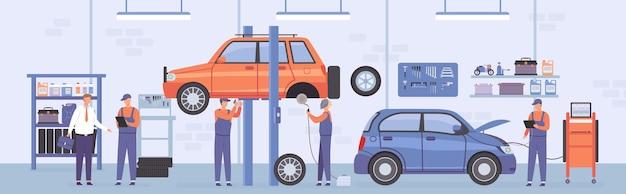 Oficina de reparação automóvel. interior de serviço de auto com trabalhadores mecânicos, carros elevados e cliente. cena de vetor plano do centro de manutenção de automóveis