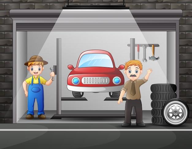 Oficina de reparação de automóveis com elementos e homem trabalhador