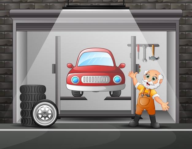 Oficina de reparação de automóveis com elementos e trabalhador antigo