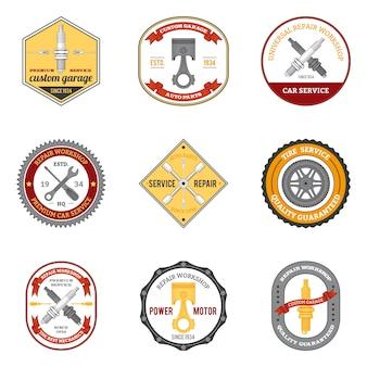 Oficina de reparação emblemas coloridos