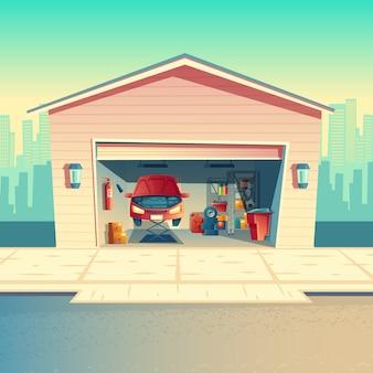 Oficina do mecânico dos desenhos animados do vetor com carro. reparação ou fixação de veículo na garagem. despensa com peles