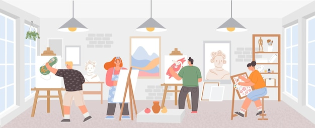 Oficina em sala de aula com artistas pintando obras de arte em cavaletes. pintores, homem e mulher. estúdio de cursos de desenho criativo, cartaz de vetor de classe de pintura. ilustração de estúdio de aula de artista, educação de hobby