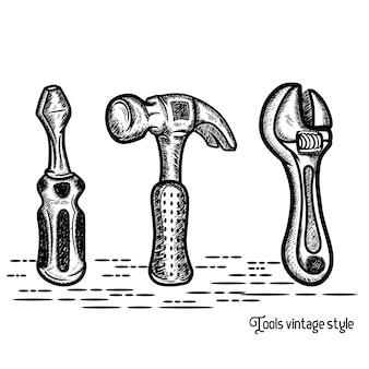 Oficina retro do reparo do emblema e loja de ferramentas