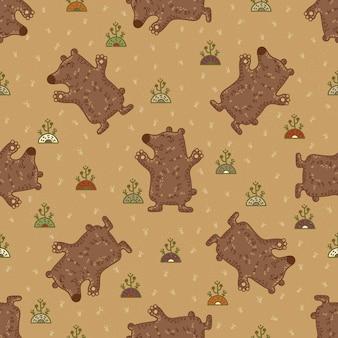 Ofício doodle padrão sem emenda tribal com ursos.