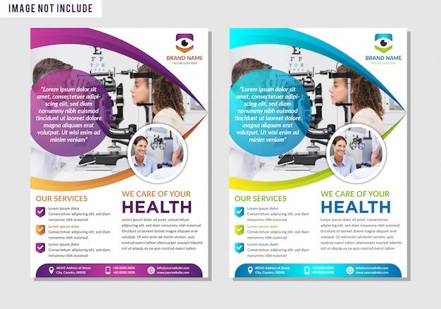 Oftalmológico. design de tamanho de modelo de folheto médico cuidados de saúde de olho a4