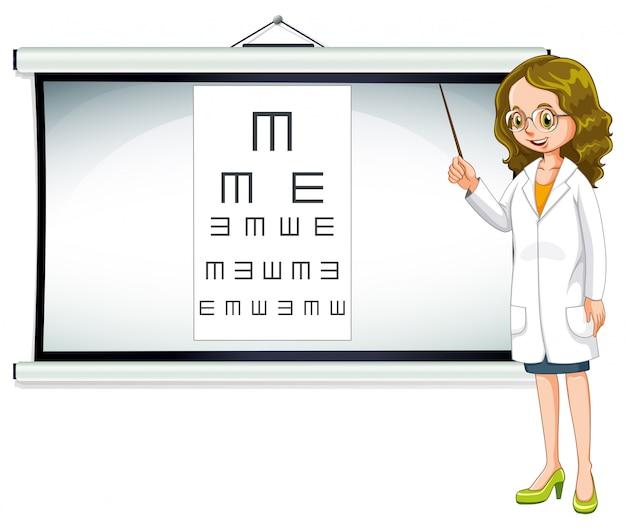Oftalmologista e gráfico de leitura