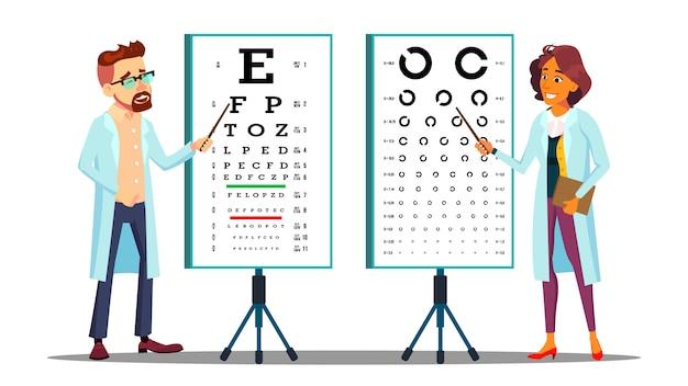 Oftalmologista examinando o conjunto de caracteres da visão do paciente