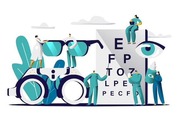 Oftalmologista médico teste miopia olho. oculista masculina com optometria de verificação de ponteiro para óculos.