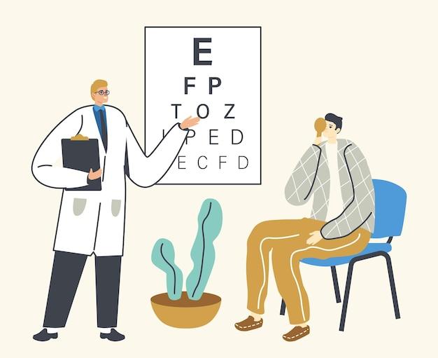 Oftalmologista médico verificar visão para dioptria de óculos