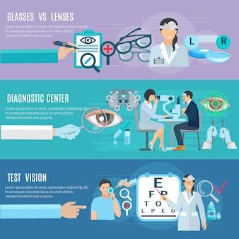 Oftalmologista oculista diagnóstico e tratamento centro longo mãos 3 banners horizontais planas conjunto abs