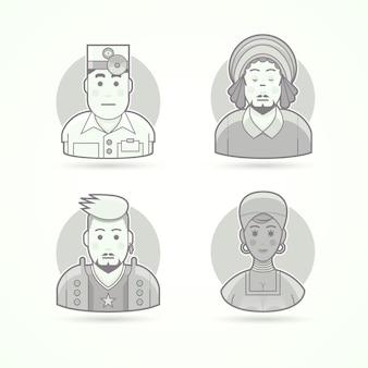 Oftalmologista, rastaman, fã de música rock, mulher africana. conjunto de ilustrações de personagem, avatar e pessoa. estilo descrito preto e branco.