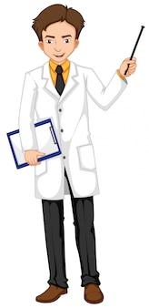 Oftalmologista, segurando o arquivo e vara