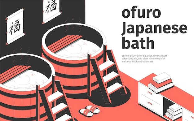 Ofurô japonês banho interior com dois barris toalhas chinelos 3d composição isométrica