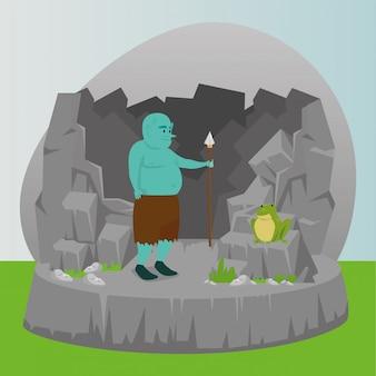 Ogro com lança no conto de fadas de cena
