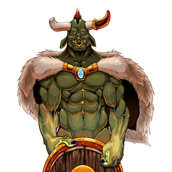 Ogro guerreiro segurando o escudo