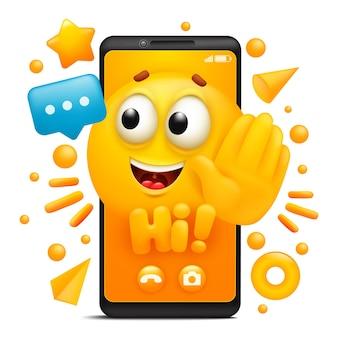 Oi. personagem de emoji de desenho animado amarelo. modelo de aplicativo de smartphone.