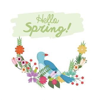 Oi rotulação de primavera com cartaz botânico de ramo de flores de pássaro