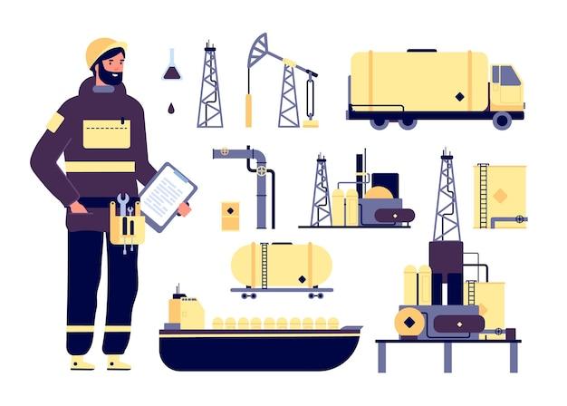 Oilman. ambiente industrial de petróleo, tecnologia de petróleo.