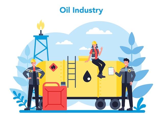 Oilman e o conceito de indústria de petróleo. pump jack extraindo petróleo bruto das entranhas da terra. produção e negócios de petróleo. ilustração em vetor plana isolada