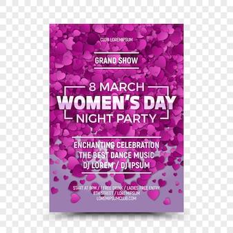 Oitavo março dia da mulher noite festa panfleto