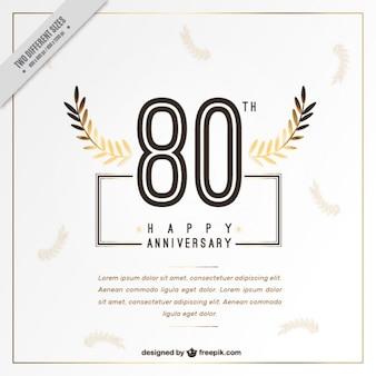 Oitenta cartão de feliz aniversário com folhas