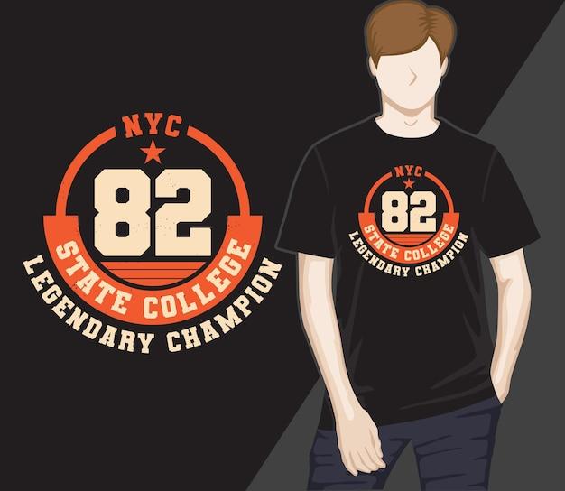 Oitenta e dois lendária faculdade estadual campeã tipografia design de t-shirt
