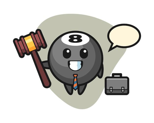 Oito bola cartoon de bilhar como advogado