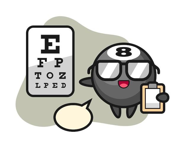 Oito bola cartoon de bilhar como uma oftalmologia