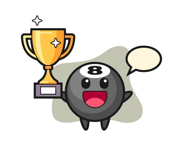 Oito bola cartoon de bilhar feliz segurando o troféu de ouro