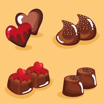 Oito chocolates doces
