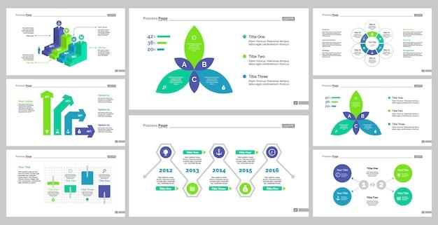 Oito conjuntos de modelos de slides de gráficos comerciais