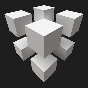 Oito cubos brancos. visão de grande angular.