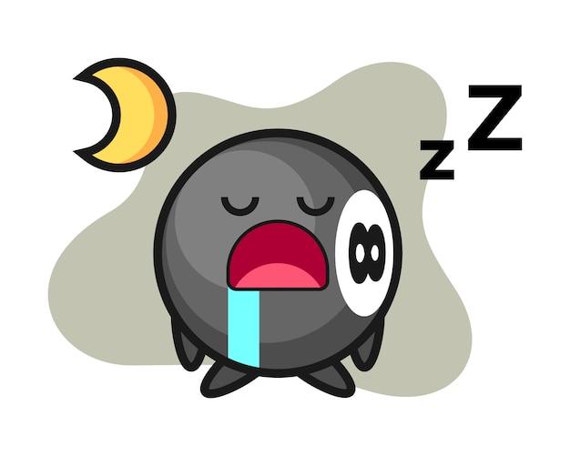 Oito desenhos animados de bilhar bola dormindo à noite