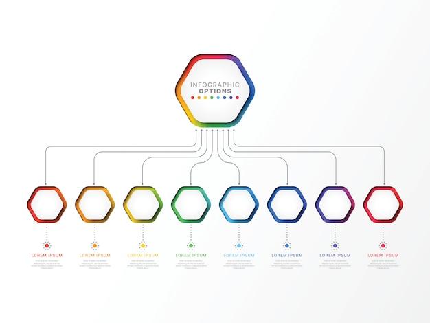 Oito etapas modelo infográfico 3d com elementos hexagonais