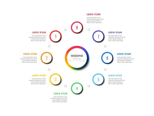 Oito etapas projetam modelo de infográfico de layout com elementos redondos