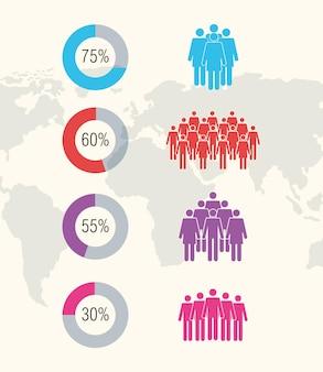Oito ícones de infográfico de população