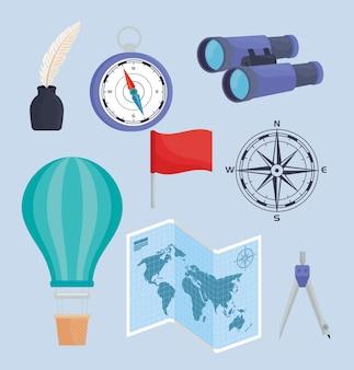 Oito ícones de suprimentos geográficos