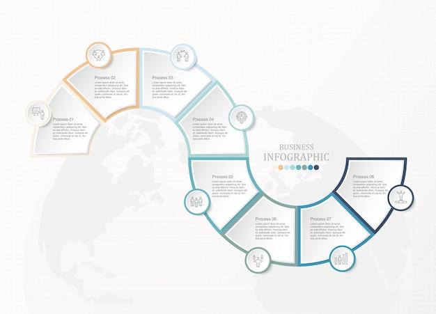 Oito passos, infográfico e ícones de homem de trabalho para o conceito de negócio.