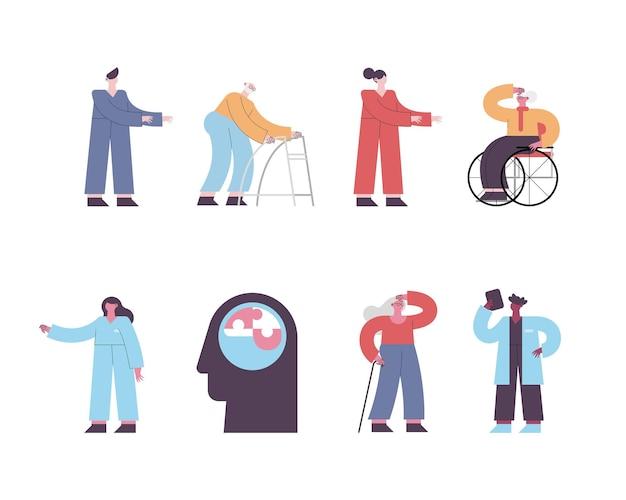 Oito pessoas com alzheimer