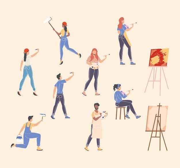 Oito pessoas pintando